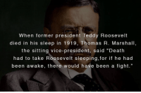"DV6 says MyDVstore.com: When former president Teddy Roosevelt  died in his sleep in 1919, Thomas R. Marshall,  the sitting vice-president, said ""Death  had to take Roosevelt sleeping,for if he had  been awake, there would have been a fight."" DV6 says MyDVstore.com"