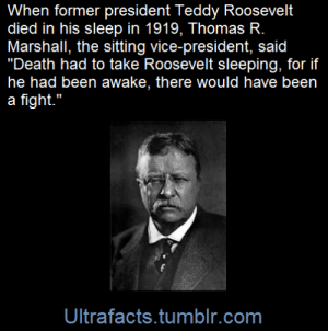 "aworldofdarkmadness: colpfiction:  geistygeist:  ultrafacts:  (Fact Source) for more facts, follow Ultrafacts     reblogging for the art  Well that.is awesome. : When former president Teddy Roosevelt  died in his sleep in 1919, Thomas R.  Marshall, the sitting vice-president, said  ""Death had to take Roosevelt sleeping, for if  he had been awake, there would have been  a fight.""  Ultrafacts.tumblr.com aworldofdarkmadness: colpfiction:  geistygeist:  ultrafacts:  (Fact Source) for more facts, follow Ultrafacts     reblogging for the art  Well that.is awesome."
