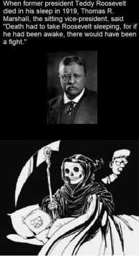 "teddy roosevelt: When former president Teddy Roosevelt  died in his sleep in 1919, Thomas R.  Marshall, the sitting vice-president, said  ""Death had to take Roosevelt sleeping, for if  he had been awake, there would have been  a fight."""