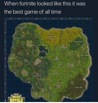 Being Salty, Ted, and Best: When fortnite looked like this it was  the best game of all time  UNK JUNCTION  2  ANARCHYACRES  HAUNTED HILLS  WAILING WOODS  PLEASANT PARK  TOMATO TO  LOOT LAKE  ONELY LODGE  5 SNORSY SHORES  DUSTY DEPOr  TED TOWERS  RETAIL ROW  6  GREASY GROVE  SALTY SPRINGS  7  SHIFTY SHAFTS  ATAL FIELDS  MOISTY MIRE  FORTHITE  BATTLE  LUSH FACTORY  10 ROYALE Who remembers?! 😭💯 https://t.co/w8EjiE2dvH