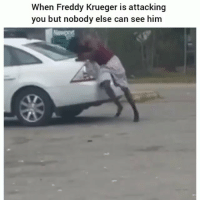 Freddy Krueger, Funny, and Freddy: When Freddy Krueger is attacking  you but nobody else can see him Classic clip of the day 😂💀