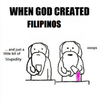 filipino (Language): WHEN GOD CREATED  FILIPINOS  ooops  and just a  little bit of  Stupidity