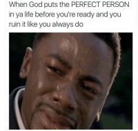 Blackpeopletwitter, God, and Life: When God puts the PERFECT PERSON  in ya life before you're ready and you  ruin it like you always do <p>Am i their perfect one tho? (via /r/BlackPeopleTwitter)</p>