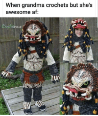 Af, Grandma, and Kids: When grandma crochets but she's  awesome af I have no kids of my own, so I told my sister I would pay her to put her youngest in this costume.