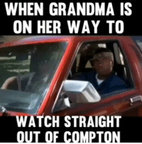 Funny, Grandma, and Email: WHEN GRANDMA IS  ON HER WAY TO  WATCH STRAIGHT  OUT OF COMPTON 😂😂😂🚗 On the way to watch a classic... straightouttacompton dontbeamenacetosouthcentralwhiledrinkingyourjuiceinthehood Created by @toeknee323 Email: funniest15seconds@yahoo.com Youtube : funniest15seconds Website : www.viralcontrol.co
