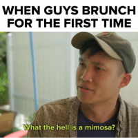 Who doesn't love brunch?!: WHEN GUYS BRUNCH  FOR THE FIRST TIME  What the hell is a mimosa? Who doesn't love brunch?!