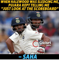 """Memes, 🤖, and Crickets: WHEN HALEWOOD WAS SLEDGING MEL  PUJARA KEPT TELLING ME  """"JUST LOOK AT THE SCOREBOARD""""  Cricket  Shots  SAHA"""