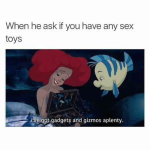 There's always that one person with a collection. #memes #sexmemes #funnymemes #funny: When he ask if you have any sex  toys  I've got gadgets and gizmos aplenty. There's always that one person with a collection. #memes #sexmemes #funnymemes #funny