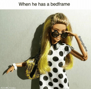 Barbie, Dating, and Memes: When he has a bedframe  doll:eb 7vidas  @dyingbutfine We've had to settle for a lot less... #Memes #Barbie #Dating #Women #Men #Bedroom #HomeDecor
