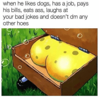 Ass, Bad, and Bad Jokes: when he likes dogs, has a job, pays  his bills, eats ass, laughs at  your bad jokes and doesn't dm any  other hoes  0 Where he at doe?
