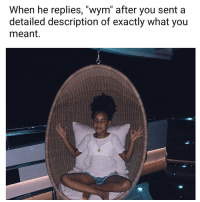 "Memes, 🤖, and You: When he replies, ""wym"" after you senta  detailed description of exactly what you  meant 😒😒😒😒😒 shepost♻♻"