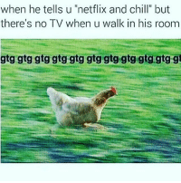 """This chicken is my spirit animal. She always knows what's up and when to get the fuck out 🙌🏽 (via @insta.single): when he tells u """"netflix and chill"""" but  there's no TV when u walk in his room  gtg gtg gtg gtg gtg gtg gtg gtg gtgtigtg gi This chicken is my spirit animal. She always knows what's up and when to get the fuck out 🙌🏽 (via @insta.single)"""