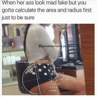Ass, Fake, and Funny: When her ass look mad fake but you  gotta calculate the area and radius first  just to be sure  @problematic.tv  area of circle i  Arca of the  22x14  3.08cm lmao petty nofucksgiven lol funny funnymemes nochill nochillzone igers instadaily instalike instagram instafun instagood instamood meme memes alldayeveryday laugh