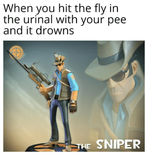 Imagine drowning a fly with your pee: When  hit the fly in  you  the urinal with your pee  and it drowns  SNIPER  THE Imagine drowning a fly with your pee