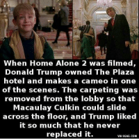 When Home Alone 2 was filmed,  Donald Trump owned The Plaza  hotel and makes a cameo in one  of the scenes. The carpeting was  removed from the lobby so that  Macaulay Culkin could slide  across the floor, and Trump liked  it so much that he never  replaced it.  VIA 9GAG.COM
