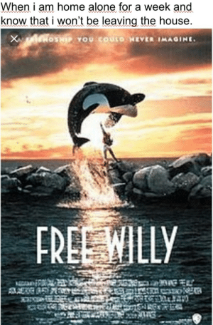 Sorry for the shit quality: When i am home alone for a week and  know that i won't be leaving the house  www  OSHIPYOU COULO HEVER IMAGINE  X  FREE WILLY Sorry for the shit quality