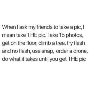 📸 real friends work the angles 🙌: When I ask my friends to take a pic, I  mean take THE pic. Take 15 photos,  get on the floor, climb a tree, try flash  and no flash, use snap, order a drone,  do what it takes until you get THE pic 📸 real friends work the angles 🙌