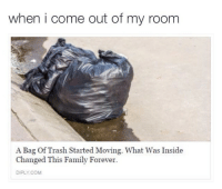 Family, Trash, and Forever: when i come out of my room  A Bag Of Trash Started Moving. What Was Inside  Changed This Family Forever  DIPLY.COM