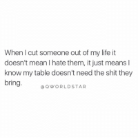 """Life, Shit, and Mean: When I cut someone out of my life it  doesn't mean I hate them, it just means I  know my table doesn't need the shit they  bring  @OWORLDSTAR """"Maturity is growth & positivity..."""" 🚀 @QWorldstar https://t.co/BWyvN6leAF"""