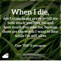 """Daily Inspirational Quotes: When I die  don't come to my grave to tell me  how much you love me and  how much you miss me, because  those are the words I want to hear  while Im still alive.  Type """"YES"""" if you agree.  DAILY INSPIRATIONAL QUOTES  FACE Book.coM/D.I.QUOTES Daily Inspirational Quotes"""