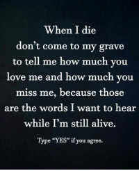 """How Much You Miss Me: When I die  don't come to my grave  to tell me how much you  love me and how much you  miss me, because those  are the words I want to hear  while I'm still alive.  Type """"YES"""" if you agree."""