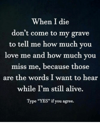"""How Much You Love Me: When I die  don't come to my grave  to tell me how much you  love me and how much you  miss me, because those  are the words I want to hear  while I'm still alive.  Type """"YES"""" if you agree."""