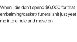 just yeet me in a hole: When I die don't spend $6,000 for that  embalming/casket/ funeral shit just yeet  me into a hole and move on just yeet me in a hole