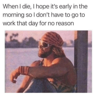 meirl: When I die, I hope it's early in the  morning so I don't have to go to  work that day for no reason meirl