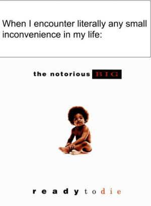Life, Notorious BIG, and Rap: When I encounter literally any small  inconvenience in my life:  the notorious  BIG  rea d y todie Could classic Rap albums become a new template? Invest now!