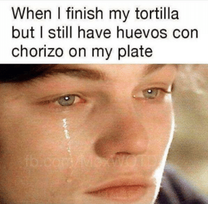 Life is unfair!: When I finish my tortilla  but I still have huevos corn  chorizo on my plate Life is unfair!