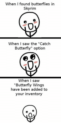 """9gag, Dank, and Saw: When I found butterflies in  Skyrim  When I saw the """"Catch  Butterfly"""" option  When  I saw  """"Butterfly Wings  have been added to  your inventory I don't want that thingy. https://9gag.com/gag/aDWEEg9/sc/gaming?ref=fbsc"""