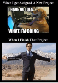 Happy Friday! #EngineeringMemes: When I get Assigned A New Project  HAVE NOIDEA  WHAT IM DOING  When I Finish That Project  engineering memes Happy Friday! #EngineeringMemes