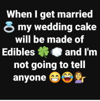 Savage, Cake, and Wedding: When I get married  my wedding cake  will be made of  Ediblesand I'm  not going to tell  anvone Savage.. 💀 https://t.co/tiVJtDcrXr