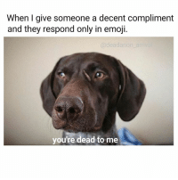 Memes, 🤖, and Arr: When I give someone a decent compliment  and they respond only in emoji.  a deadanon  arr  you're dead to me 😀😀😀😧🔫
