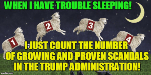 Memes, Gifs, and Sleeping: WHEN I HAVE TROUBLE SLEEPING!  1  JUST COUNT THE NUMBER  OF GROWING AND PROVEN SCANDALS  IN THE TRUMPADMINISTRATION!  4  imgflip.com counting sheep Memes & GIFs - Imgflip