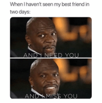 Best Friend, Funny, and Memes: When I haven't seen my best friend in  two days:  AND1 NERD YOU  AND -MISS YOU SarcasmOnly