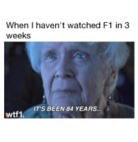 Memes, F1, and Been: When I haven't watched F1 in 3  weeks  IT'S BEEN 84 YEARS  wtf1, Via @wtf1official - Sounds about right f1 formula1 wtf1