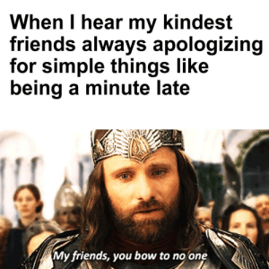 Friends, Wholesome, and Aragorn: When I hear my kindest  friends always apologizing  for simple things like  being a minute late  My friends, you bow to no one Be kind to yourself and listen to Wholesome Aragorn