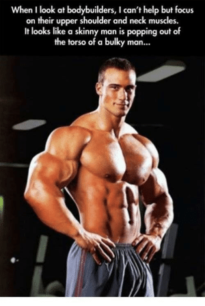 I cant ever unsee it.: When I look at bodybuilders, I can't help but focus  on their upper shoulder and neck muscles.  It looks like a skinny man is popping out of  the torso of a bulky man... I cant ever unsee it.