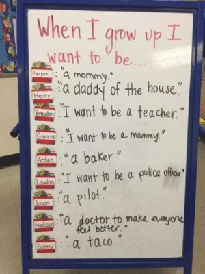 """Benny knows what's up: When I qrow up I  Want to be  Harperamommy.  a daddy of the house""""  I want to be a teacher""""  Henry  Brayden  GLannawant o be a mommy.  :""""a baker  :I want to be a police offar  a pilot  Arden  Landon  Jason  """"a doctor to make avoyore  feel better.""""  Madison  a taco.""""  Benny Benny knows what's up"""