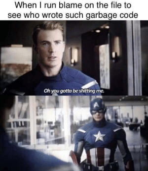 Well, Of Course I Know Him. He's Me.: When I run blame on the file to  see who wrote such garbage code  Oh you gotta be shitting me. Well, Of Course I Know Him. He's Me.