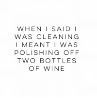 Omg 😂🙌🏼🍷 Rp @gonebanhannahs goodgirlwithbadthoughts 💅🏼: WHEN I SAID I  WAS CLEANING  I MEANT I WAS  POLISHING OFF  TWO BOTTLES  OF WINE Omg 😂🙌🏼🍷 Rp @gonebanhannahs goodgirlwithbadthoughts 💅🏼