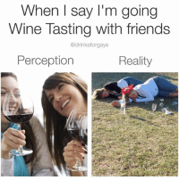 """""""Always buy a bigger wine bottle than you need. Better to be safe than sober"""" - Buddha: When I say I'm going  Wine Tasting with friends  @drinksforgays  Reality  Perception """"Always buy a bigger wine bottle than you need. Better to be safe than sober"""" - Buddha"""