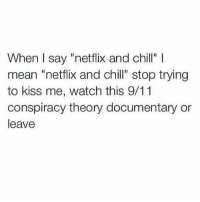 """Yass!: When I say """"netflix and chill"""" l  mean """"netflix and chill"""" stop trying  to kiss me, watch this 9/11  conspiracy theory documentary or  leave Yass!"""
