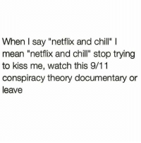 """When I say """"netflix and chill""""  mean """"netflix and chill"""" stop trying  to kiss me, watch this 9/11  conspiracy theory documentary or  leave"""