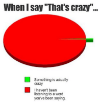 "thatsCrazy: When I Say Thats crazy""...  Something is actually  Crazy  I haven't been  listening to a word  you've been saying thatsCrazy"