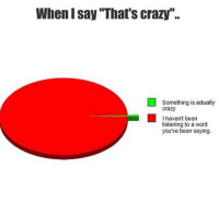 "That's crazy: When I say That's crazy""..  Something is actually  crazy  I haven't been  listening to a word  you've been saying. That's crazy"