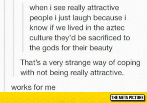 srsfunny:When I See Attractive People: when i see really attractive  people i just laugh because i  know if we lived in the aztec  culture they'd be sacrificed to  the gods for their beauty  That's a very strange way of coping  with not being really attractive.  works for me  THE META PICTURE srsfunny:When I See Attractive People