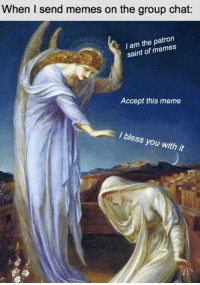 Group Chat, Meme, and Memes: When I send memes on the group chat:  I am the patron  saint of memes  Accept this meme  I bless you with it Dump the 9th