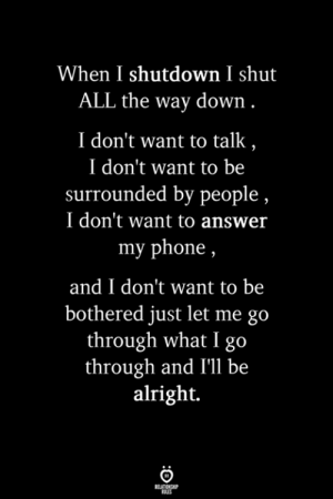 bothered: When I shutdown I shut  ALL the way down  I don't want to talk  I don't want to be  surrounded by people  I don't want to answer  my phone,  and I don't want to be  bothered just let me go  through what I go  through and I'll be  alright.